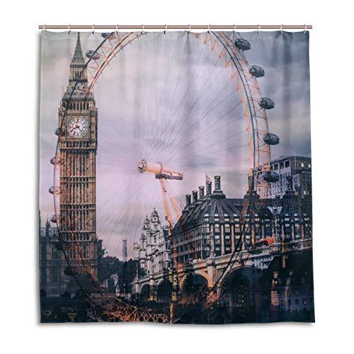 CPYang Duschvorhänge London Eye Big Ben Wasserdicht Schimmelresistent Bad Vorhang Badezimmer Home Decor 168 x 182 cm mit 12 Haken
