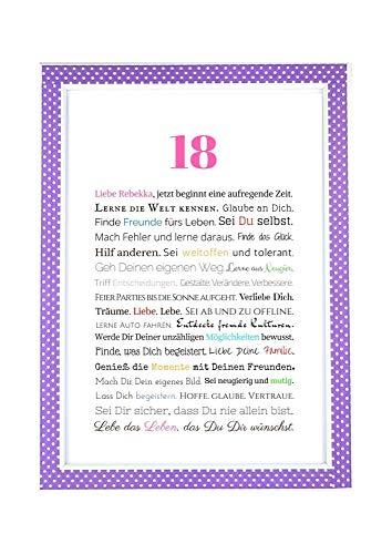 18. Geburtstag – Geschenkidee zur Volljährigkeit – Personalisiertes Bild mit Rahmen – Geburtstagsgeschenk für Mädchen/Frauen oder Beigabe zum Geldgeschenk, Kunstdruck, DIN A4 - 6