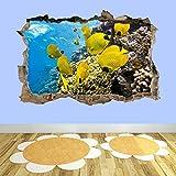 Pegatinas de pared - 3D - Coral Peces Mar Acuario Arte De La Pared Submarina Pegatinas Mural Papel Tapiz Ac14 - arte Mural cartel decoración - 90x130CM