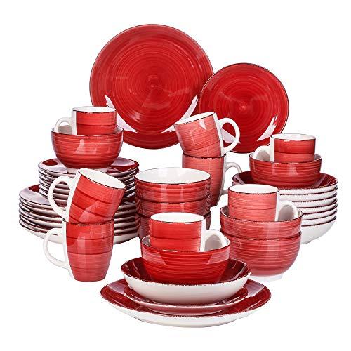 vancasso, Série Bella, Service de Table en Porcelaine, Assiette 40 Pièces pour 8 Personnes, Faïence Style Vintage Rustique