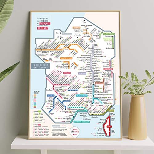 Mapa de los vinos de Francia AOC/AOP 'Les Stations' Pétillante 50 x 70