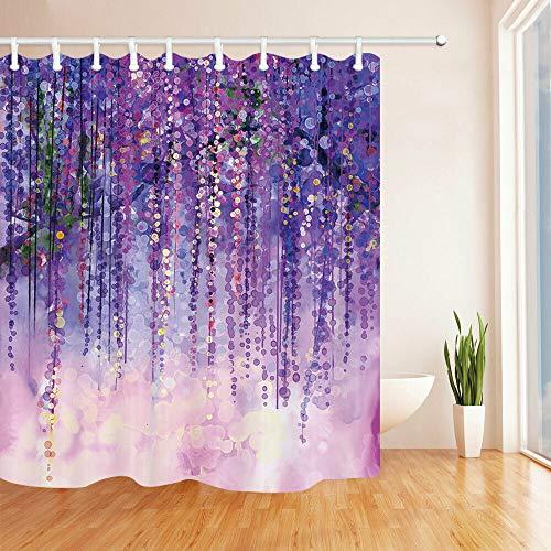 Watercolor Purple Dot Bubble Shower Curtain Cloth Fabric Bathroom Decor Set with Hooks,Beautiful Plant Pendulous Rattan Polyester Decorative Shower Curtain Liner Modern Accessories 84' W x 78'