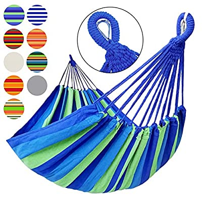 GOCAN Brazilian Double Hammock 2 Person Extra Large Canvas Cotton Hammock for Patio Porch Garden Backyard Lounging Outdoor and Indoor Blue Green Stripe XXLarge