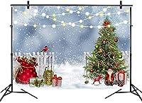 新しい10x7ft冬のクリスマスの背景クリスマスツリーサンタクロース雪鳥写真パーティーイベントの背景キッズポートレート写真撮影写真ブーススタジオ小道具