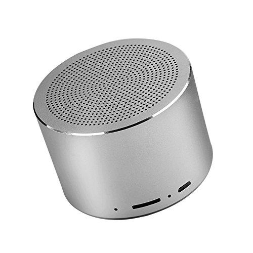 Reproductor de Música Estéreo al Aire libre Inalámbrico con Mini Altavoz Bluetooth Portátil Impermeable con LED Recepción de Señal Fuerte y Estable Micrófono de Alta Definición Incorporado(gris)