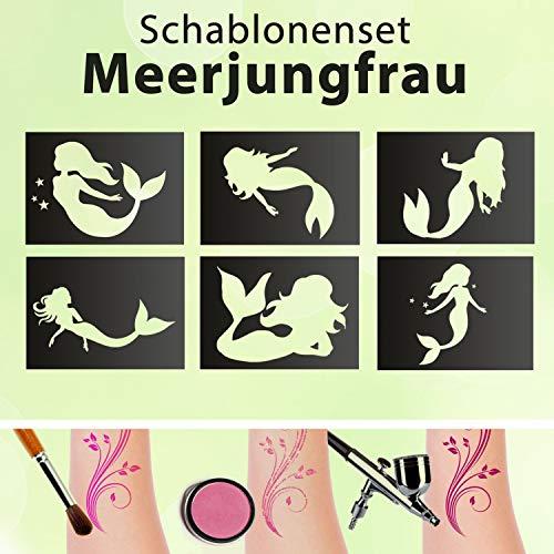 Tattoo Schablonen SET Kinder Meerjungfrau 6 Schablonen Selbstklebend Schminken Meer Meerjungfrauen