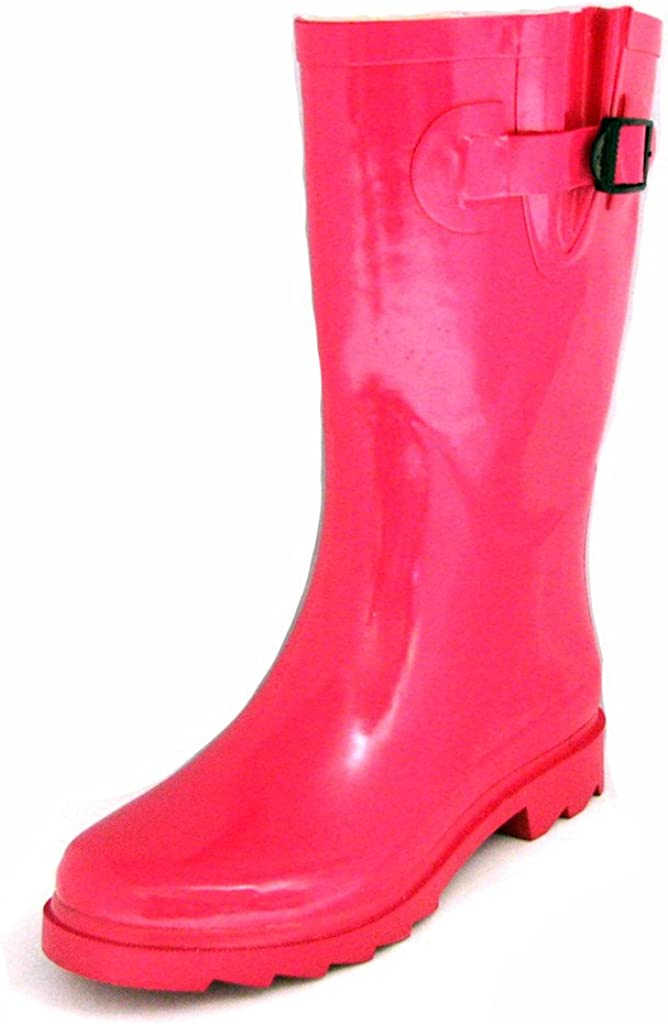 Townforst Womens Winter Rain Snow Flat Rubber Mid Calf Short Rai