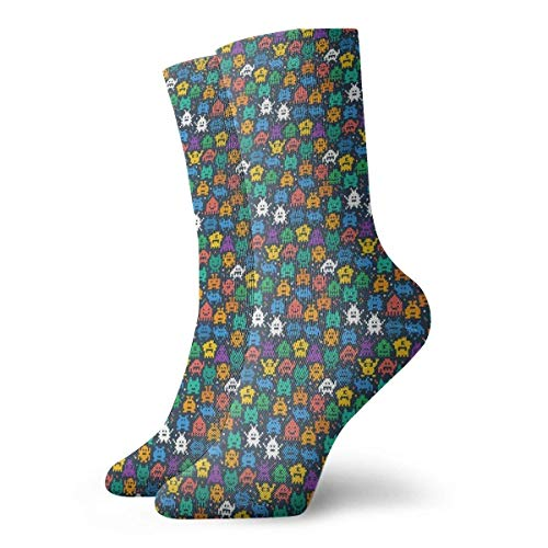 QUEMIN Calcetines Transpirables Retro Space Invaders Video Game Crew Sock Exotic Modern Women & Men Printed Sport Athletic Calcetines 30 cm (11,8 pulgadas)