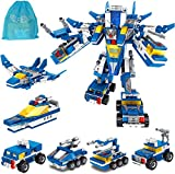 STSTECH 6 in 1 Building Toys Military Stacking Blocks Transformer Police Team Bricks in 22 Styles DIY STEM Playset Gift for Boys,Teens,Kids Above 6 Years Old(4 Vehicles,1 Ship,1 Flighter) (Style01)