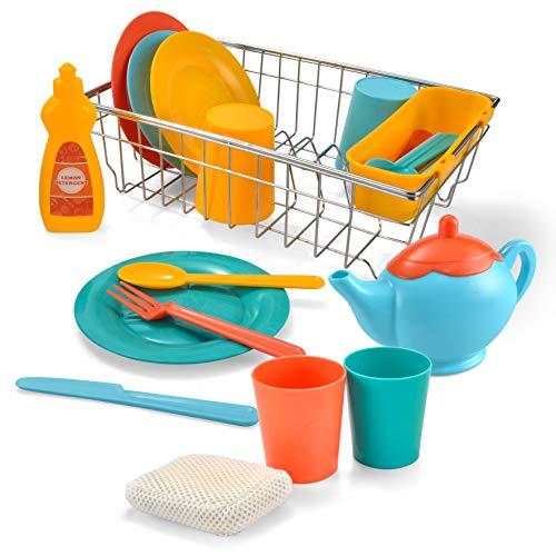 JOYIN Vajilla de Juguete con Escurreplatos Utensilios de Cocina Juego Lavado Platos para niños