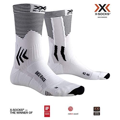 X-Bionic Bike Race, Calzini da Ciclismo Unisex-Adulto, Arctic White/Opal Black, 42-44