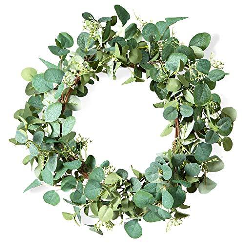 Lius Artificial Verde eucalipto Puerta Colgante Flor Anillo día celebración decoración