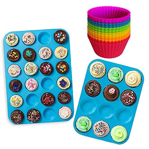 Lot de Moules en Silicone pour Muffins et Cupcakes (12 et 24 minis) Anti-adhésifs, Sans BPA, Adaptés au Lave-Vaisselle, Bleu, avec Caissettes en Silicone Gratuites