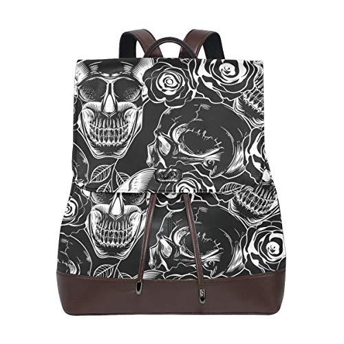 Ahomy - Mochila de piel para mujer, diseño de calaveras en blanco y negro, impermeable, antirrobo, mochila informal