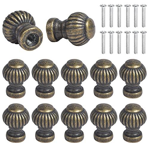 Chstarina 12 Stück Mini Schubladenknöpfe Bronze Möbelgriff Moebelknauf Vintage Schubladengriffe Antik Kommoden Knöpfe mit Schraube für Schrank Schublade Schmuckschatullen