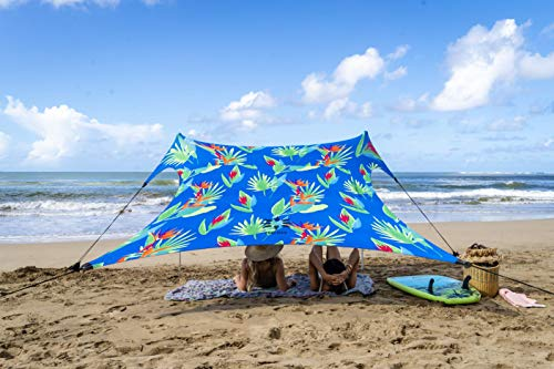 Neso Tents Beach Tent with Sand Anchor, Portable Canopy Sunshade - 7' x 7' - Patented Reinforced Corners (Tropical Floral)