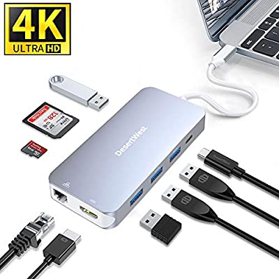 DesertWest USB C Hub 4K HDMI, 9 in 1 Multiport Adapter Portable Docking Station with 1Gbps Ethernet Port, 4 USB Ports, PD Power Port, SD/TF Card Reader for Macbook Pro, XPS and More Type C Laptops