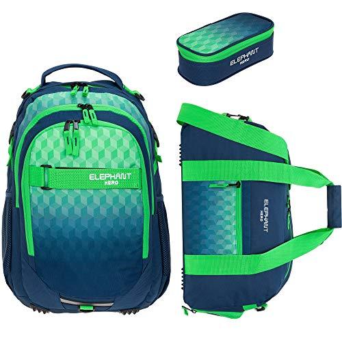 3 Teile Set Elephant Schulrucksack Hero Signature Rucksack + Sporttasche + Mäppchen 12609 (Cube Green Blue)