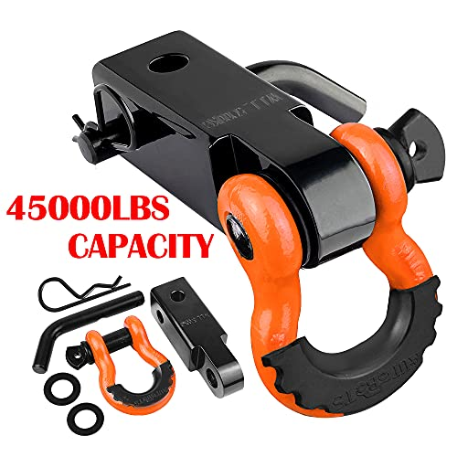 """AUTOBOTS Tow Hitch Receiver 2"""", 45,000 Lbs Break Strength Heavy Duty Receiver with 5/8"""" Screw Pin, 3/4 Shackle, Towing Accessories for Vehicle Recovery Off-Road Orange&Black"""