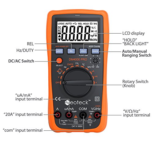 Neoteck Multímetro 4000 Cuentas Automático Manual Multímetro Digital CA/CC...
