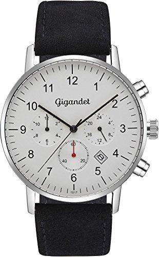 Gigandet herenhorloge minimalistisch dualtijdhorloge analoog met lederen armband G21-001