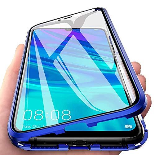 Funda para Huawei P Smart 2019, Adsorción Magnética Cubierta Vidrio Templado Frontal y Posterior Flip Case Marco Metal Bumper Funda Anti Choque Protección 360 Grados Carcasa, Azul