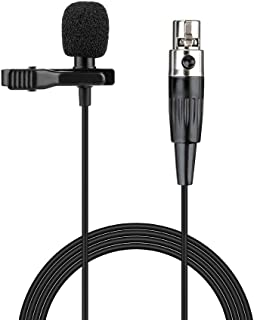 Sujeetec Lavalier Lapel Microphone 3 Pin Mini XLR Cardioid Clip-on Condenser Mic for AKG Samson Wireless System & Bodypack Transmitter