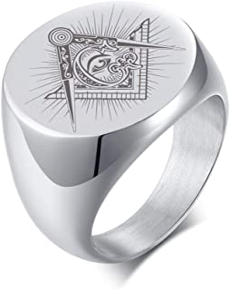 MPRAINBOW Sri Lanka Yantra River Symbol Punk Biker Stainless Steel Seal Ring for Men