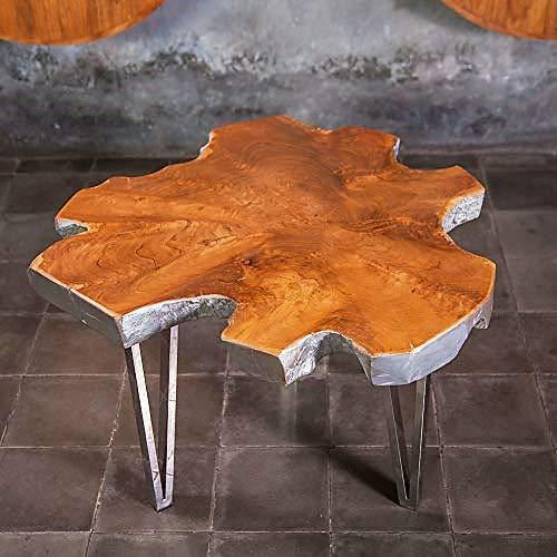 Designer Beistelltisch Teak Holz mit Silber Umrandung ca. 70 cm | Holzscheibe Couchtisch als Wohnzimmertisch | Wurzelholz Baumscheiben Unikat | Handarbeit | Teakholztisch | Baumscheibe Beistelltisch