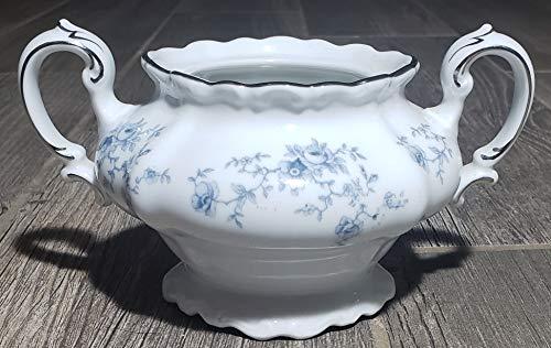 Johann Haviland Blue Garland Bavaria Sugar Bowl No Lid (Platinum On Top of Handle)