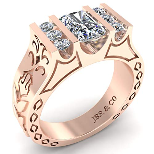 Jbr - Juego de anillos de compromiso de plata de ley 925 para ella y él con caja de joyería