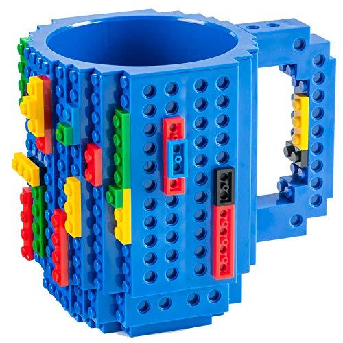 Goods & Gadgets Build on Brick Mug Bausteine Kaffeetasse - Bausteine Tasse Bauklötze Kaffee-Becher 350ml (Blau)