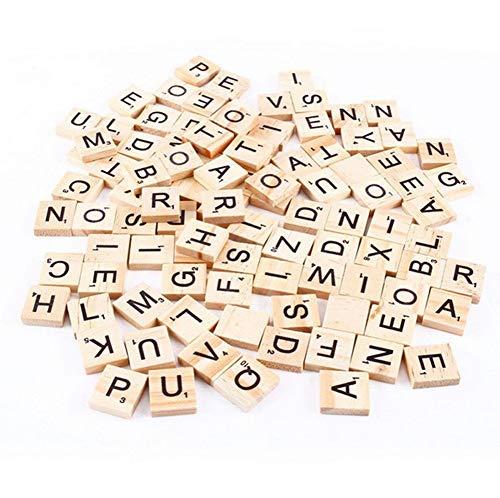 Delleu Azulejos de Letras de Madera 100PCS / Scrabble Tiles de Madera A-Z mayúsculas para Manualidades, Colgantes, ortografía