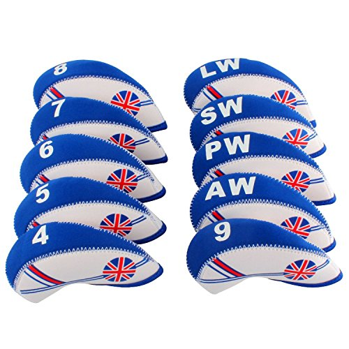 mamimamih Golf Club de golf en néoprène drapeau UK 10 Housses Tête en imitation cuir Bleu/Blanc
