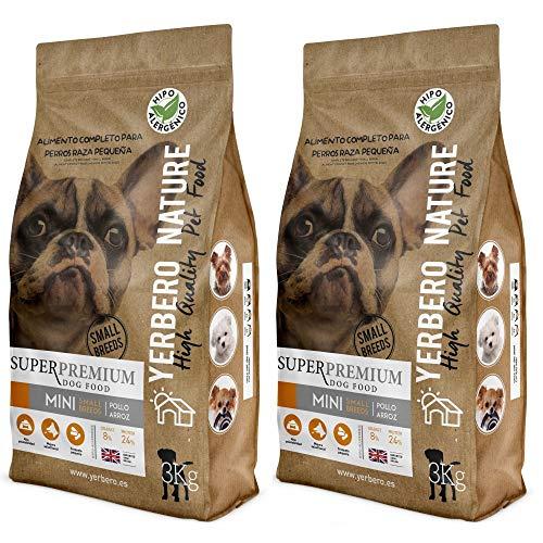 YERBERO Nature Razas Mini de Pollo, 2 uds de 3 kg de alimento superpremium para Perros de Razas Mini.