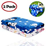 iNNEXT 2 Pack Warm Puppy Blanket for Pet Cushion, Car, Coach, Sofa, Furniture Protector, Dog Cat Bed Warm Sleep Mat, Pet Puppy Kitten Soft Blanket Doggy Warm Bed Mat Paw Print (S, Blue+Letter Print)