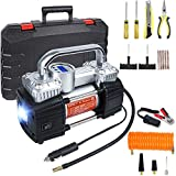 GSPSCN Digital Tire Inflator, Portable Toolbox 12V Air Compressor Pump Heavy Duty Dual Cylinders Car Pump,150Psi Auto Shut-Off with Tire Repair Kit for Auto,SUV,Truck etc