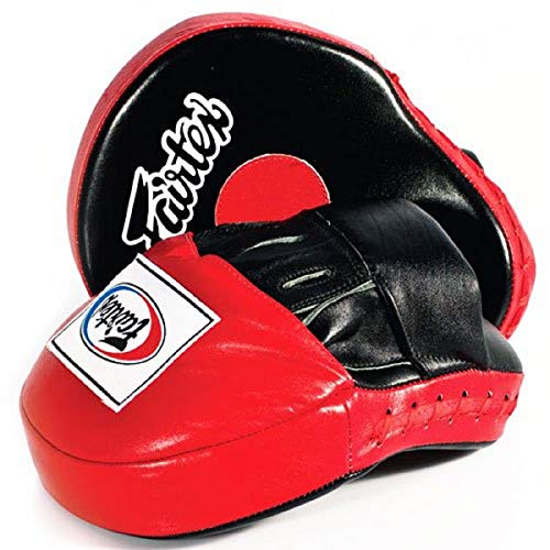 Fairtex Contoured Boxing MMA Muay Thai Karate Training Target Focus Punch Pad Mitts (Red/White)