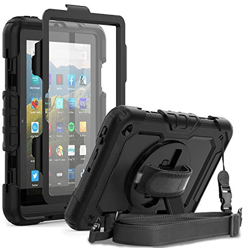 Amazon Fire HD 8 Case 2020 with Screen Protector Pen Holder | Herize Kindle Fire HD 8/HD 8 Plus Case Kids | ThreeLayer Shockproof Protective Cover W/Stand Hand Strap for Fire HD 8 10th Generation