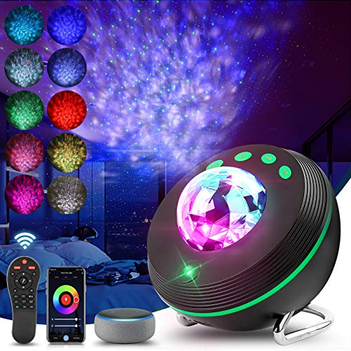 Ifreelife Star Projector, Ocean Wave Galaxy Projector with Bluetooth Speaker Night Light Projector Compatible with Alexa & Google Assistant for Kids Bedroom/Game Rooms/Home Theater/Party