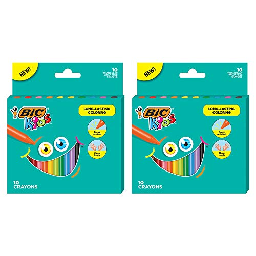 BIC Kids Crayons, Easy Hold Triangular Shape, Break Resistant, Wrap-Free, Assorted Colors, 24-Count - Pack of 2
