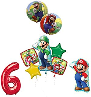 The ULTIMATE Super Mario Brothers and Luigi 6th Birthday Party Supplies Decorations