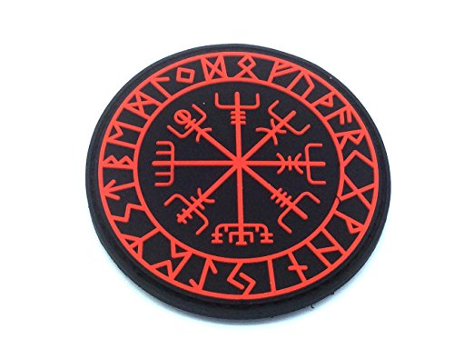 Aegishjalmr Viking Helm of Awe Terror Protection Norse Rune Wikinger Morale Patch PVC Airsoft Paintball Klett Emblem Abzeichen (Rot)