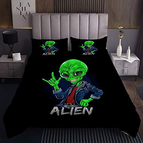 Loussiesd Alien - Colcha acolchada para niñas y niños, para el espacio exterior, decoración sobrenatural de los seres marcianos, juego de edredón único y fresco para dormitorio
