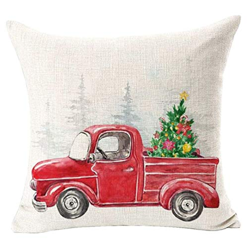Bnitoam Merry Christmas Car Tree Red Best Gift for Holiday Square Cotton Linen Decorative Throw Pillow Cover Cushion Case for Outdoor Bed Sofa Couch Family 18inches (Red)