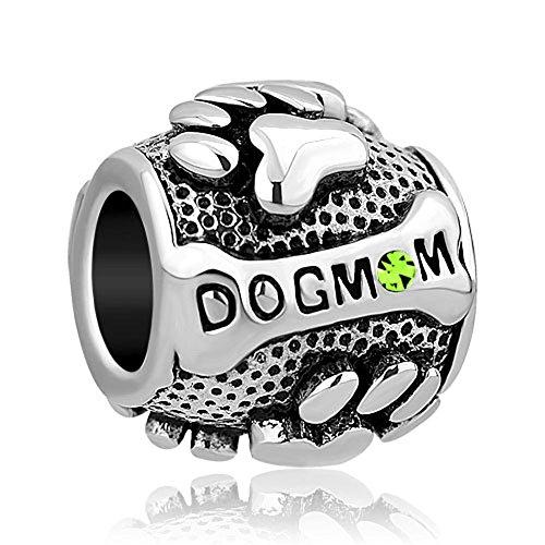Sug Jasmin Dog Mom Charms Paw Print August Birthstone Charm Beads for Snake...