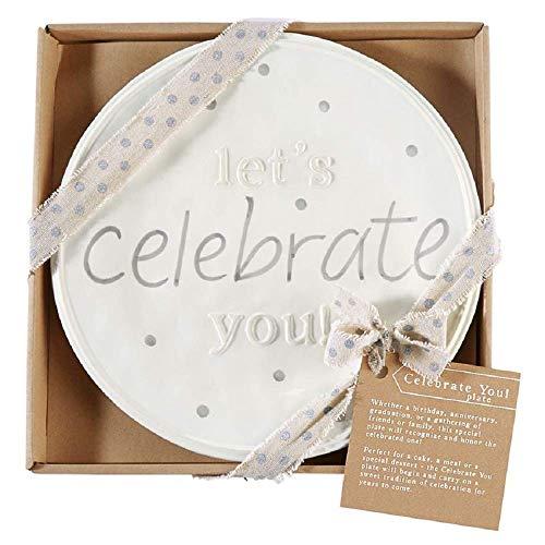 Mud Pie Celebrate You Dinner Plate, White, 11 1/2' dia