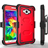 Grand Prime Case, Tekcoo [TShell Series] [Red] Shock Absorbing [Built-in Screen Protector] Holster Locking Belt Clip Defender Heavy Duty Case Cover for Samsung Galaxy Grand Prime/Go Prime