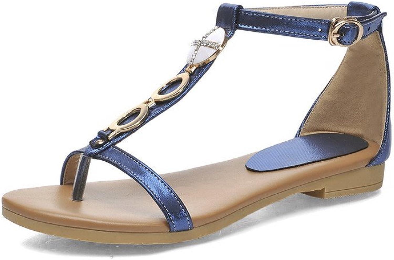 AmoonyFashion Women's Low-Heels Patent Leather Solid Buckle Split Toe Flip-Flop-Sandals