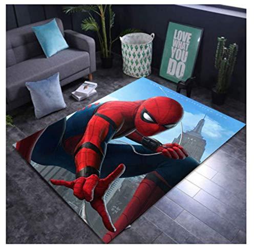 WallDiy Lindo Spiderman Playmat de Franela Suave alfombras de área Impresas en 3D alfombras Antideslizantes Alfombra Grande para la decoración de la Sala de Estar